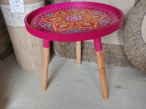 mesa madera redonda auxiliar